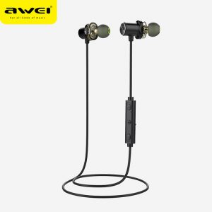 AWEI X650BL Black Bluetooth Wireless Earphone (Dual Driver Speaker)